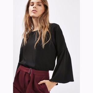 topshop | black flutter bell sleeve blouse sz 4